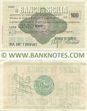 Italy Mini-Cheque 100 Lire 2.4.1976 (Il Banco di Sicilia, Catania) (BB Nº 1402295) (circulated) VG
