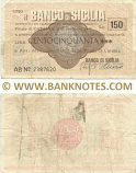 Italy Mini-Cheque 150 Lire 14.2.1977 (Il Banco di Sicilia, Catania) (AB Nº 2387620) (circulated) F-VF