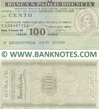 Italy Mini-Cheque 100 Lire 15.11.1976 (La Banca S.Paolo-Brescia) (101170047) (circulated) F