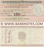 Italy Mini-Cheque 150 Lire 3.11.1977 (La Banca S.Paolo-Brescia) (152475248) (circulated) F-VF