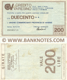 Italy Mini-Cheque 200 Lire 15.11.1976 (Credito Varesino, Varese) (950486719) (circulated) VF