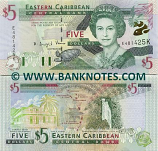 Saint Kitts & Nevis 5 Dollars (2000) (F744703K) UNC