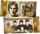 Russia 100 Rubles 2019 The Beatles Commemorative (AA00xxx) plastic UNC
