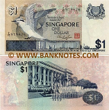Singapore 1 Dollar (1976) (segmented sec. thread) (G/88 4533xx) UNC