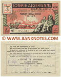 Tunisia Lottery Ticket 1/10 - 2e Tranche 1944 (Serial # 100214) XF-AU