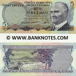 Turkey 5 Lira (1968) (E67 39760x) UNC
