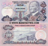 Turkey 1000 Lira L.1970 (1981) (F76/457576) UNC