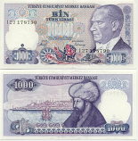 Turkey 1000 Lira (1986) (J27/663xxx) UNC