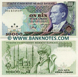 Turkey 10000 Lira (1989) (J82/0844xx) UNC