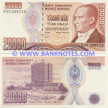 Turkey 20000 Lira (1995) (G75/288xxx) UNC