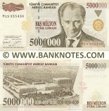 Turkey 5 Million Lira 1.1997 (M19/3554xx) UNC