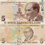 Turkey 5 Lira 2009 (A028/3836xx) UNC