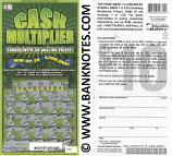 "USA: South Carolina 10 Dollars 2013 Education Lottery Ticket ""Cash Multiplier"" (Used)"