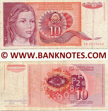 Yugoslavia 10 Dinara 1.9.1990 (Ser # varies) (circulated) Fine