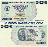 Zimbabwe 250 Million Dollars 2008 (AA93176xx) UNC
