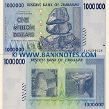 Zimbabwe 1 Million Dollars 2008 (AA42540xx) UNC