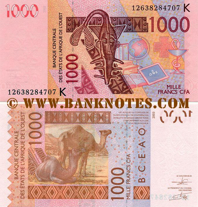 BENIN 1000 Francs Banknote World Money Currency BILL p215 Note West Africa