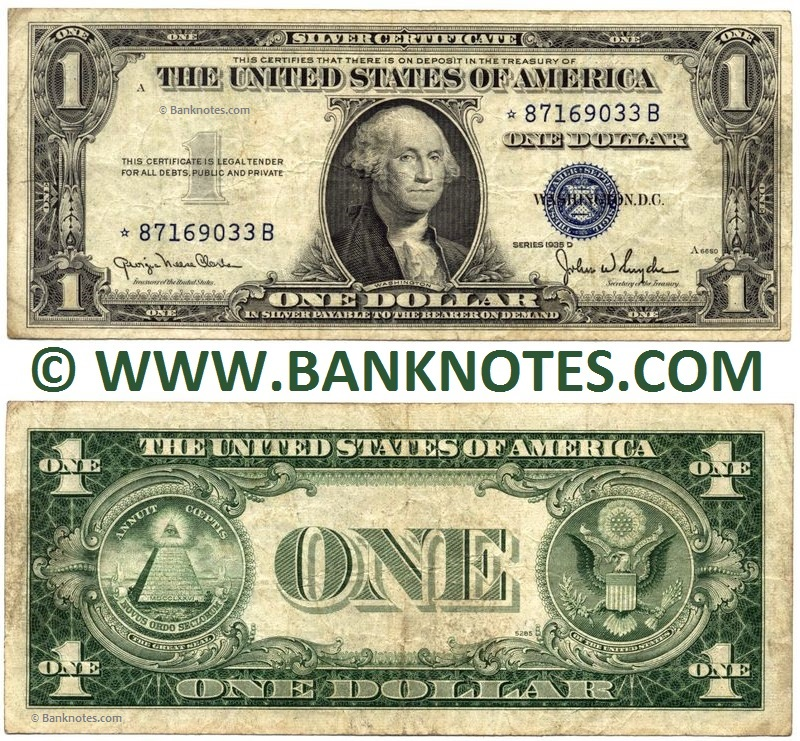 United States of America 1 Dollar 1935 D* Silver Certificate - North ...