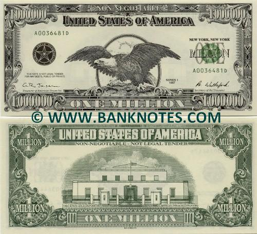 Banknotes Com United States Of America 1 Million Dollars 1997 One Million Dollars American Bank Notes Paper Money World Currency Banknotes