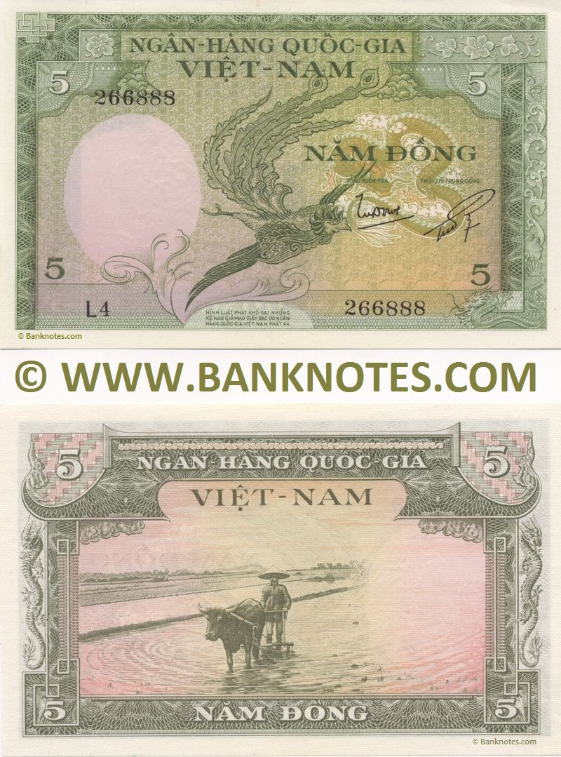 South Viet Nam 5 Dong 1955 - Vietnamese Currency Bank Notes